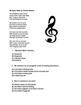 Poetry, Roethke's My Papa's Waltz; CCSS Aligned Reading and Essay Questions