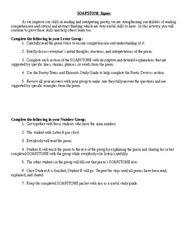 Poetry SOAPSTONE Study Guide Packet - CCSS Aligned