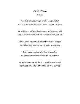 Poetry/SS: Juan De Onate
