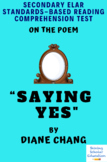 """Saying Yes"" Poem by Diane Chang Multiple-Choice Reading Test"