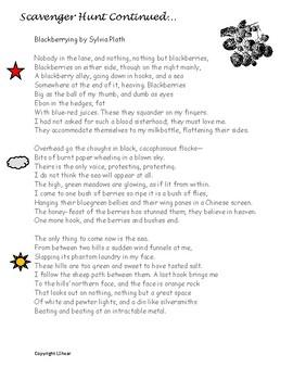 Poetry Scavenger Hunt- Sylvia Plath, Robert Frost, Maya Angelou