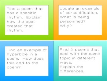 Poetry Scavenger Hunt or Task Cards for High School