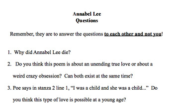 Poetry Seminar with Annabel Lee by Edger Allan Poe