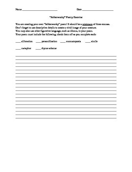 Poetry Sheets to Enhance a Unit