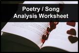 Poetry/Song Analysis Worksheet