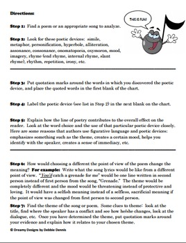 Poetry & Song Lyrics Analysis Guide for ANY Poem or Song Common Core Aligned 6 7