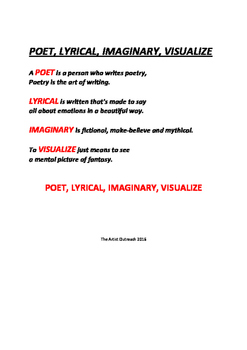 Poetry Song (Poet, Lyrical, Imaginary, Visualize)