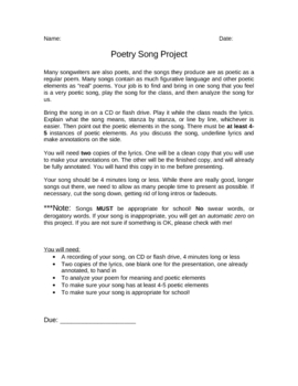 Poetry Song Project