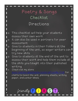 Poetry & Songs Writing Checklist