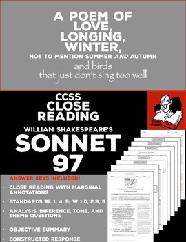 Poetry Sonnet 97 Close Reading, Analysis, and Constructed Response