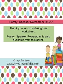 Poetry: Speaker Notes