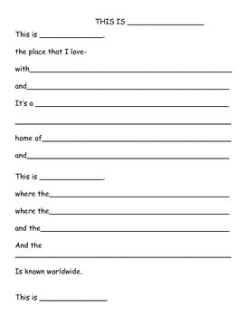 Reading/Poetry Activity: Social Studies Research- I Love My State