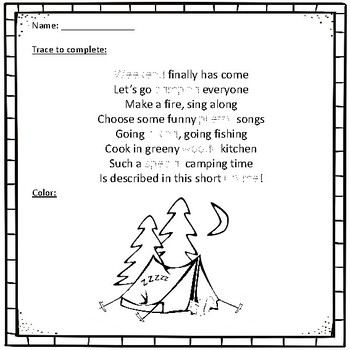 Poetry Station Bundle 2in1 15 Rhymes plus Funny Tracing & Coloring KINDERGARTEN