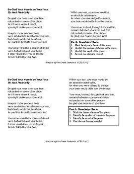 Poetry Structure Leveled Practice