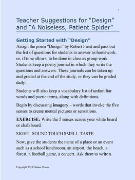 "Poetry Study ""Design"" by Frost and ""A Noiseless, Patient Spider"" Whitman"