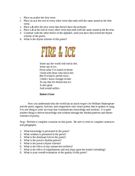 Poetry Study Lesson Handout - Robert Frost- Fire and Ice