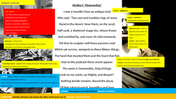 Poetry Study Teaching Unit: Ozymandias, Percy Shelley, Power and Conflict