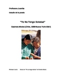 Poetry Study Yo no tengo soledad  by Gabriela Mistral