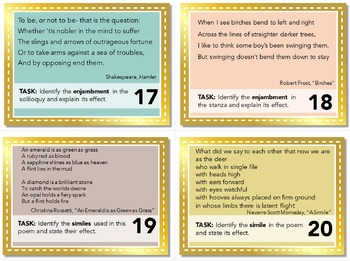 Poetry Task Cards: Poetic Terms and Prompts for Quizzes, Bell-Ringers