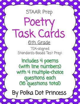Poetry Task Cards - STAAR Test Prep/Review