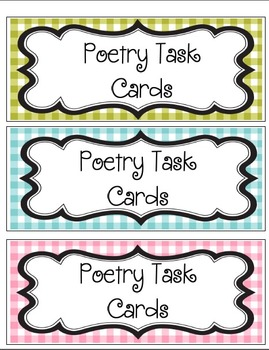 Poetry Task Cards Station Activity Gingham Themed