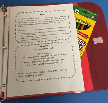 Poetry Task Cards~ Use as Literacy Center! Upper Elementary or Middle School