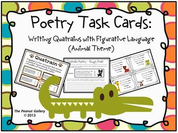 Poetry Task Cards: Writing Quatrains with Figurative Language (Animal Theme)