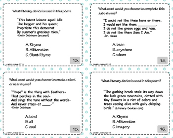 Poetry Task Cards and Activities