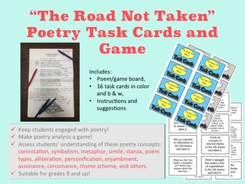 """Poetry Task Cards and Game for """"The Road Not Taken"""""""