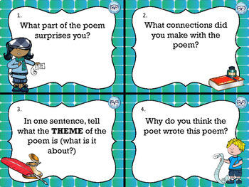 Poetry Task Cards for Grades 4, 5 and 6 Test Prep