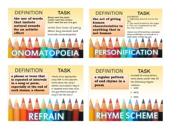 Poetry Task Cards for Middle to High 34 Common Core Cards!