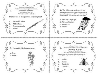 Poetry Task Cards on Figurative Language, Sound Devices, Form and Structure
