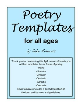 Poetry Templates for all ages