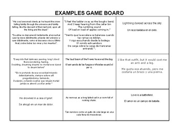 Poetry Term Game Board Manipulative - Spanish and English