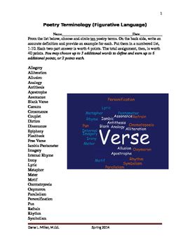 Poetry Terminology/Figurative Language Assignment