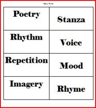 Poetry Terms Activity Sort