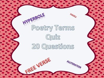 Poetry Terms Assessmenent