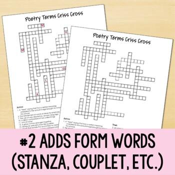 Poetry Terms Criss Cross Pu... by Nouvelle ELA | Teachers Pay Teachers