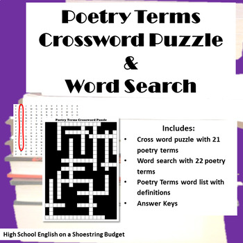 Poetry Terms Crossword Puzzle and Word Search