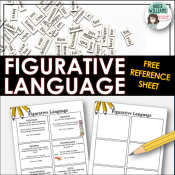 Figurative Language Reference Sheet By Addie Williams Tpt