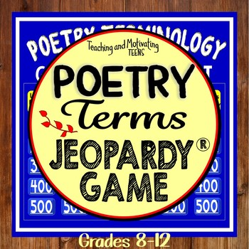 Poetry Terms Fun Jeopardy-Style Class Game Show or Independent Work