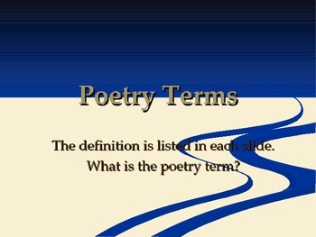 Poetry Terms Game