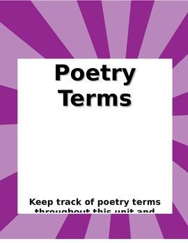 Poetry Terms Glossary - Blank Handout (Editable)