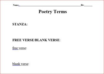 Poetry Terms Handout and Notes