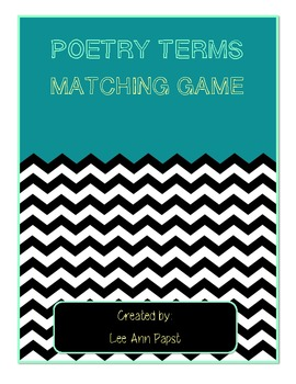 Poetry Terms Matching Game Cards