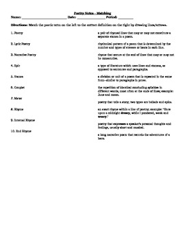Poetry Terms Notes - Matching