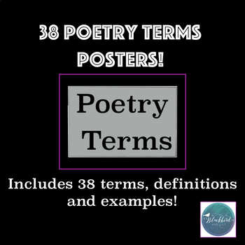 Poetry Terms Poster Pack - definitions of terms and examples on each poster!