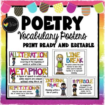 Poetry Vocabulary Posters Editable