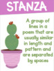 Poetry Terms Posters with a Cactus Succulent Theme