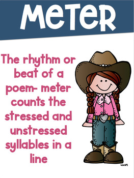 Poetry Terms Posters with a Cowboy Cowgirl Western Theme